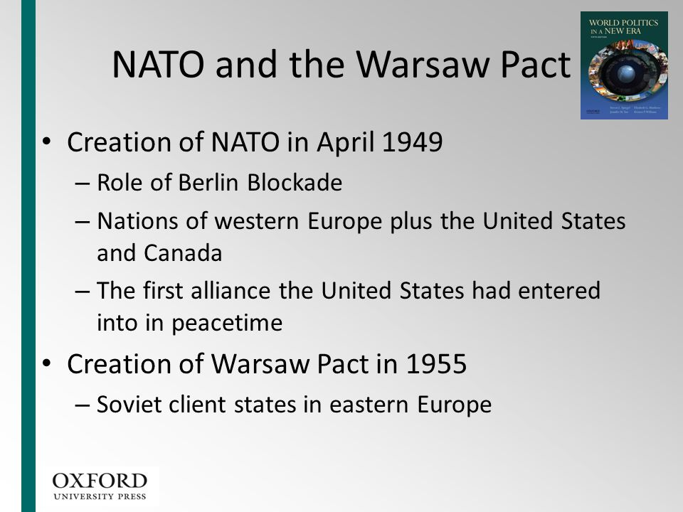 NATO and the Warsaw Pact Creation of NATO in April 1949 – Role of Berlin Blockade – Nations of western Europe plus the United States and Canada – The