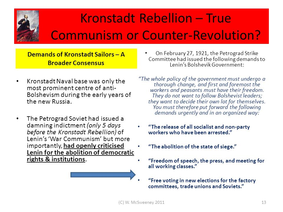 Kronstadt Rebellion – True Communism or Counter-Revolution.
