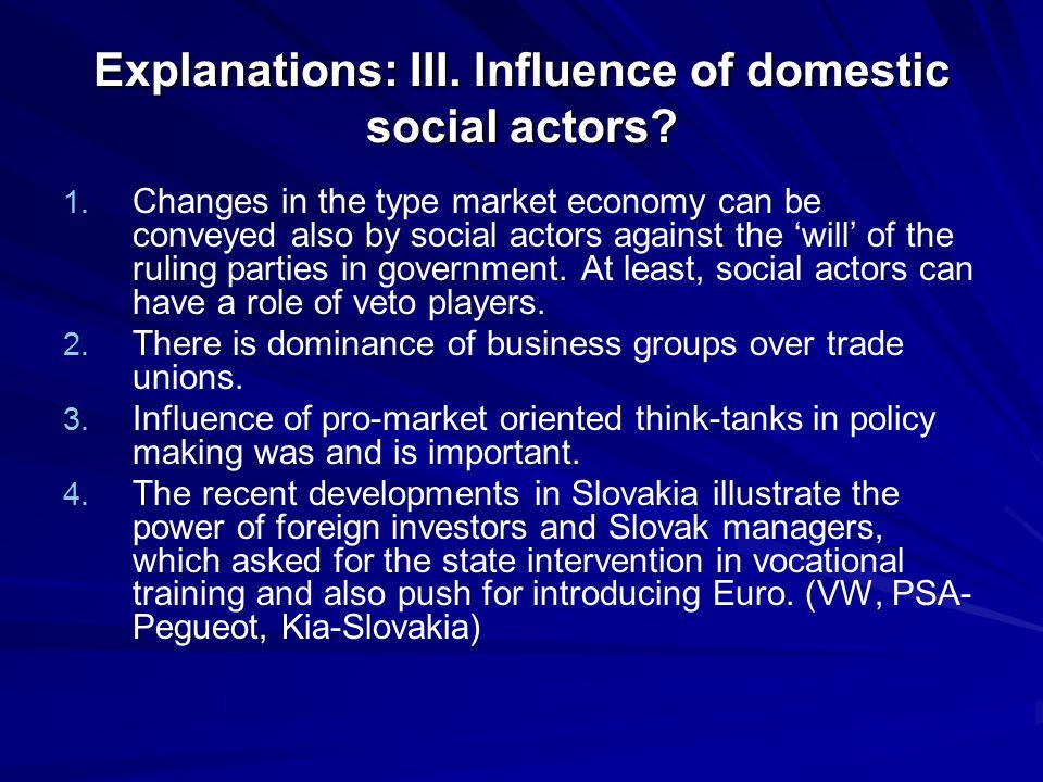 Explanations: III. Influence of domestic social actors.