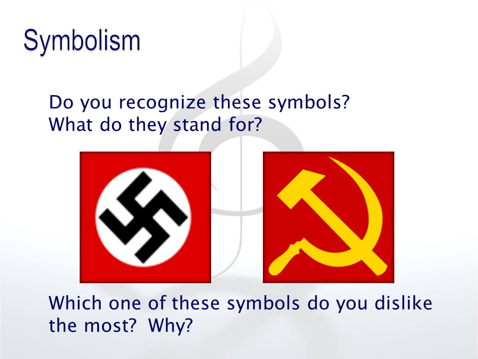 Do you recognize these symbols? What do they stand for? Which one of these symbols do you dislike the most? Why?