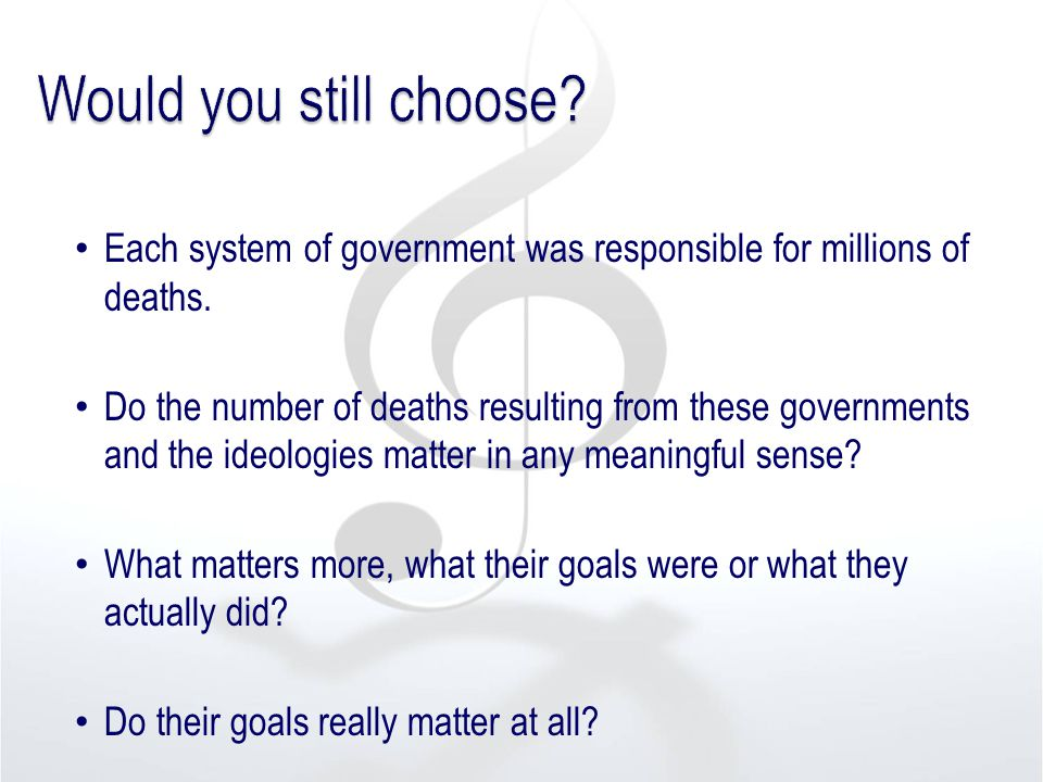 Each system of government was responsible for millions of deaths. Do the number of deaths resulting from these governments and the ideologies matter i
