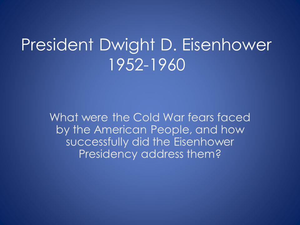 Eisenhower s Farewell Address A vital element in keeping the peace is our military establishment.