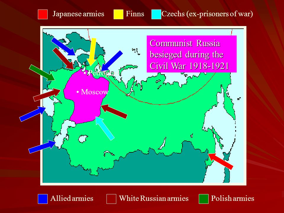 Civil War- Why the Communist won? The Whites were divided, while the Reds controlled the key cities, industrial centres and communication links. The W