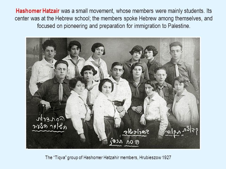 Hashomer Ha-Tzahir young members, Hrubieszow, 1926The Shoshanim girls group of Hashomer Hatzair, Hrubieszow 1928