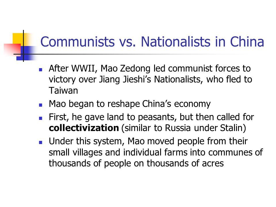 Mao Zedong (left) vs. Jiang Jieshi (right)