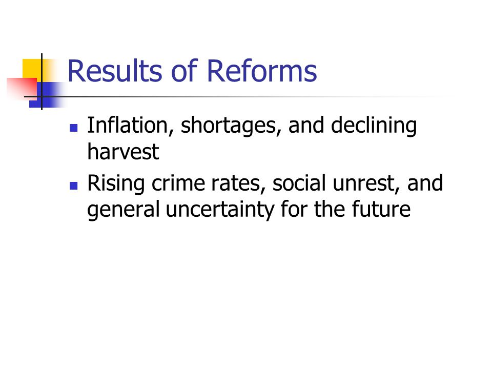 Results of Reforms Inflation, shortages, and declining harvest Rising crime rates, social unrest, and general uncertainty for the future