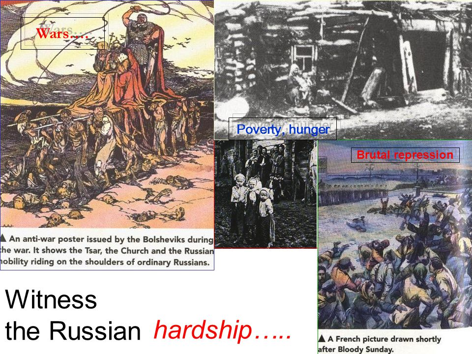 Russia under the Czar (king of Russia) until 1917 Corrupt, inefficient, autocratic, reactionary Czarist government. Failures in reforms. No freedom, R
