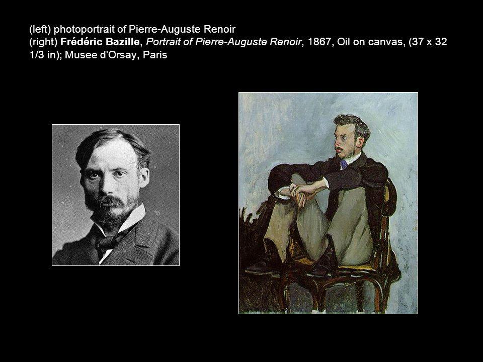 (left) photoportrait of Pierre-Auguste Renoir (right) Frédéric Bazille, Portrait of Pierre-Auguste Renoir, 1867, Oil on canvas, (37 x 32 1/3 in); Musee d Orsay, Paris