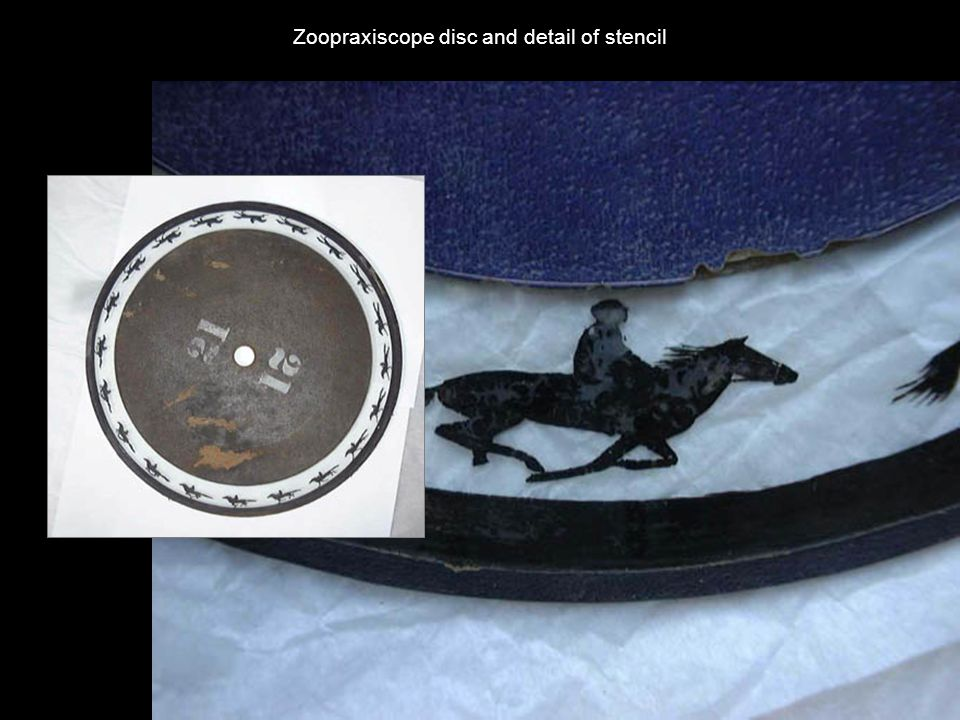 Zoopraxiscope disc and detail of stencil