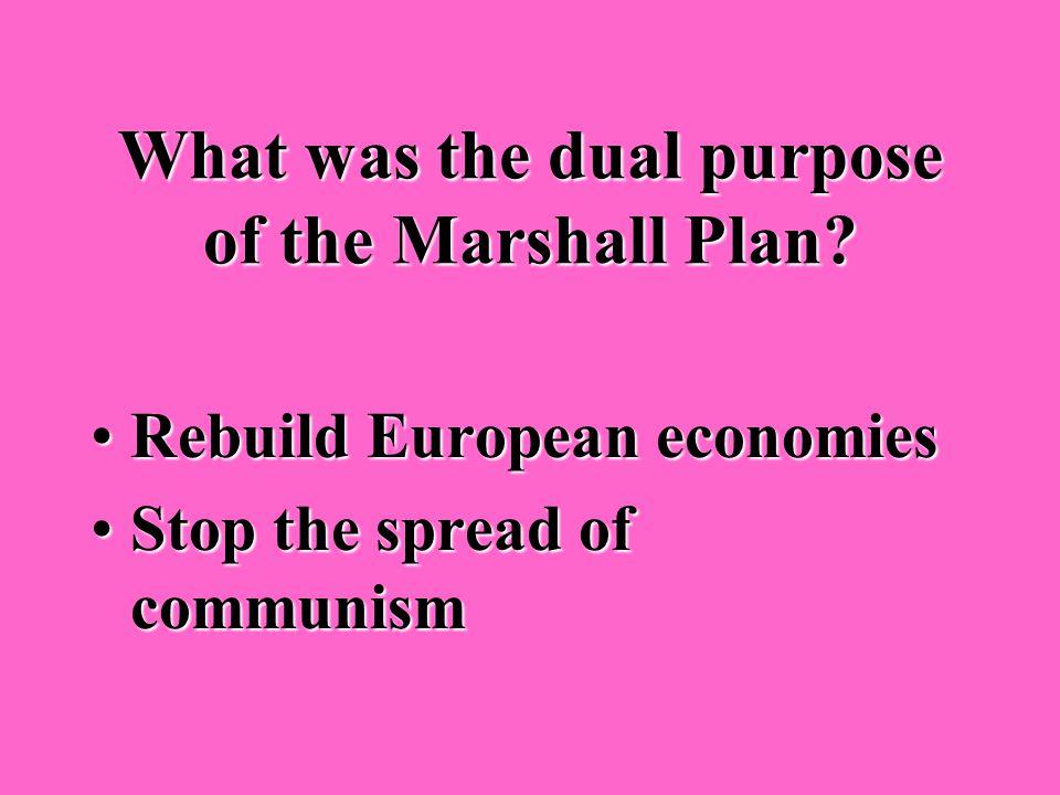 What was the Marshall Plan? U.S. economic aid program to European nations after World War IIU.S. economic aid program to European nations after World