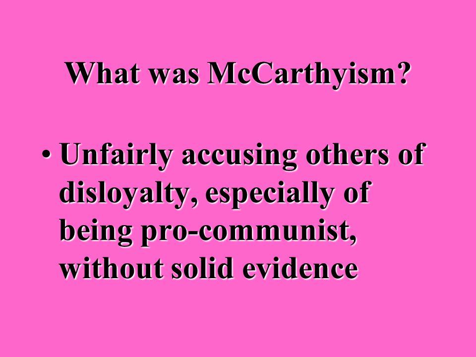 Who was Senator Joseph McCarthy? A Republican senator who accused many American officials of being communistsA Republican senator who accused many Ame