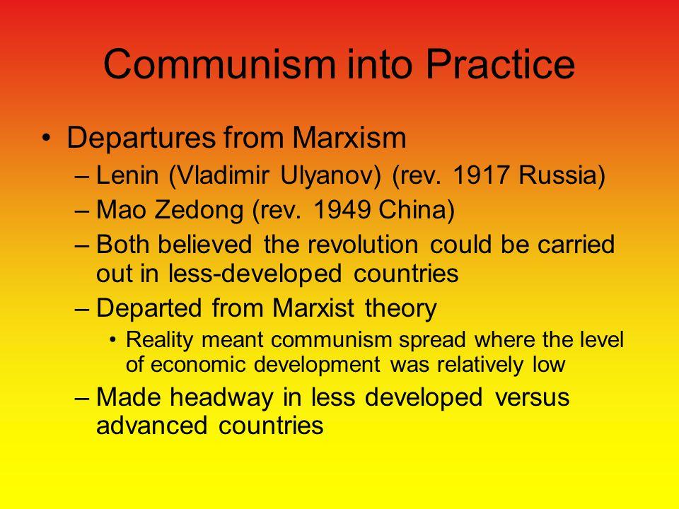 Communism into Practice Departures from Marxism –Lenin (Vladimir Ulyanov) (rev.