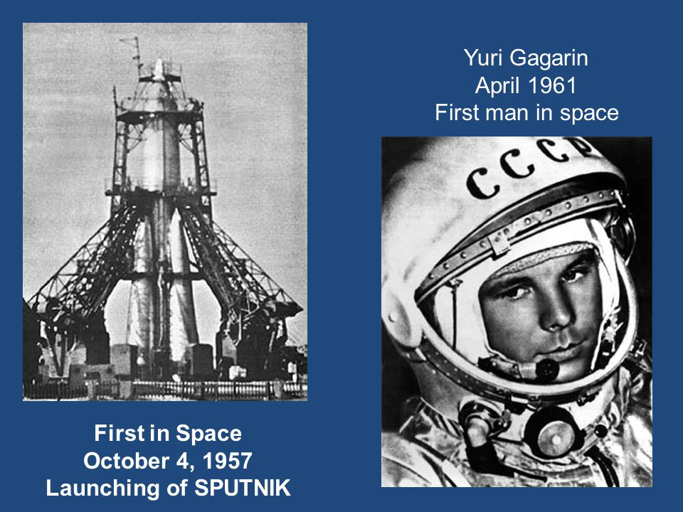 Yuri Gagarin April 1961 First man in space First in Space October 4, 1957 Launching of SPUTNIK