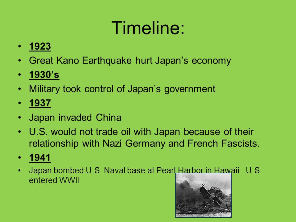 Timeline: 1923 Great Kano Earthquake hurt Japan's economy 1930's Military took control of Japan's government 1937 Japan invaded China U.S. would not t