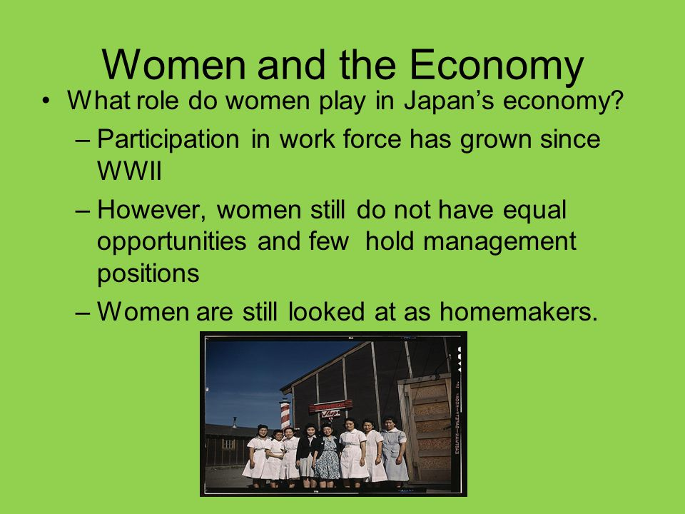 Women and the Economy What role do women play in Japan's economy? –Participation in work force has grown since WWII –However, women still do not have