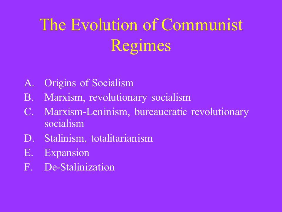 The Evolution of Communist Regimes A.Origins of Socialism B.Marxism, revolutionary socialism C.Marxism-Leninism, bureaucratic revolutionary socialism