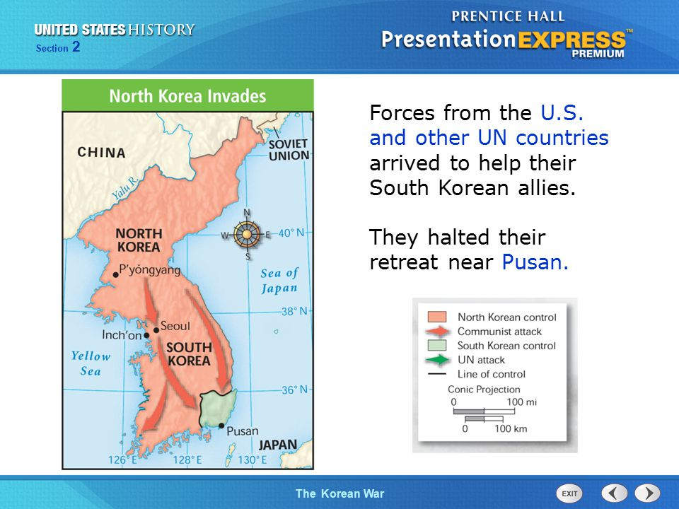 The Cold War BeginsThe Korean War Section 2 Forces from the U.S.