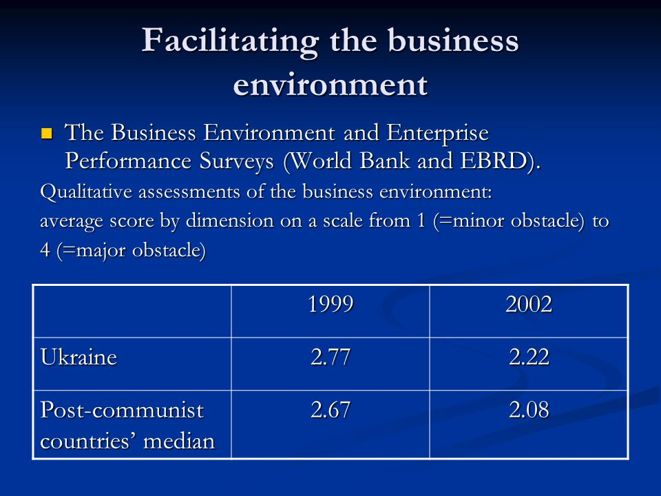 Facilitating the business environment The Business Environment and Enterprise Performance Surveys (World Bank and EBRD).