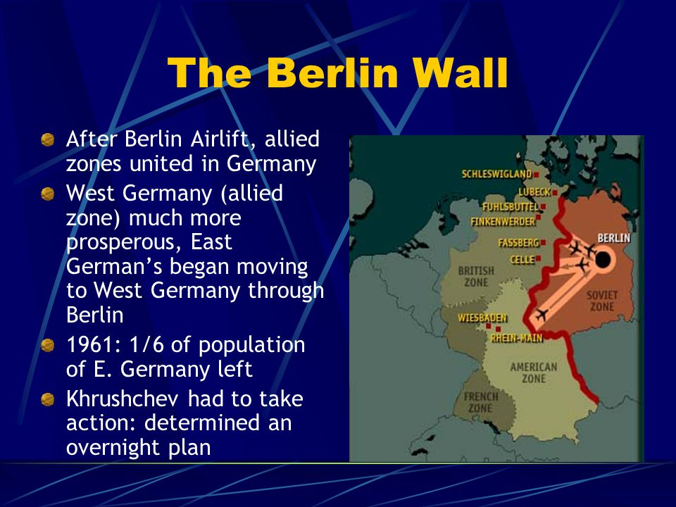 The Berlin Wall After Berlin Airlift, allied zones united in Germany West Germany (allied zone) much more prosperous, East German's began moving to We