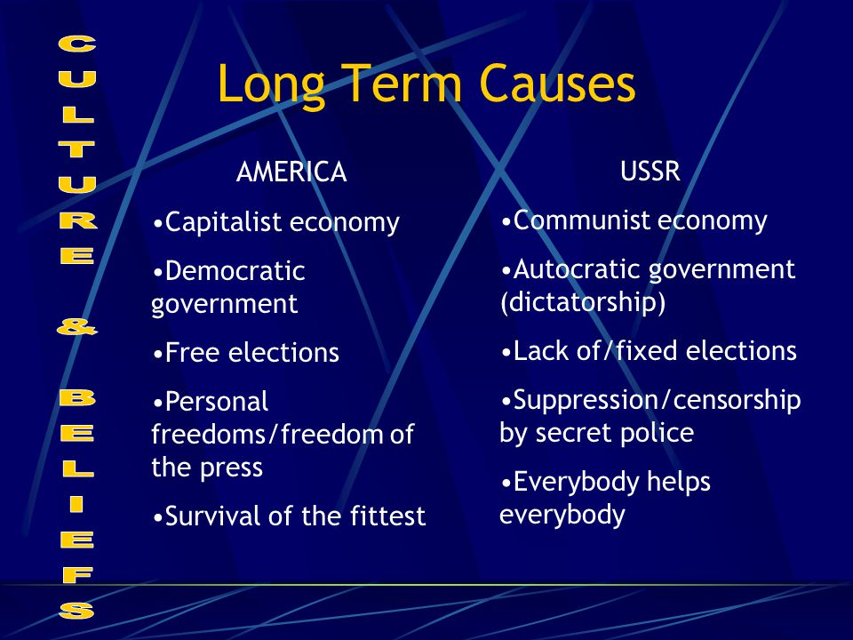 Long Term Causes AMERICA Capitalist economy Democratic government Free elections Personal freedoms/freedom of the press Survival of the fittest USSR C