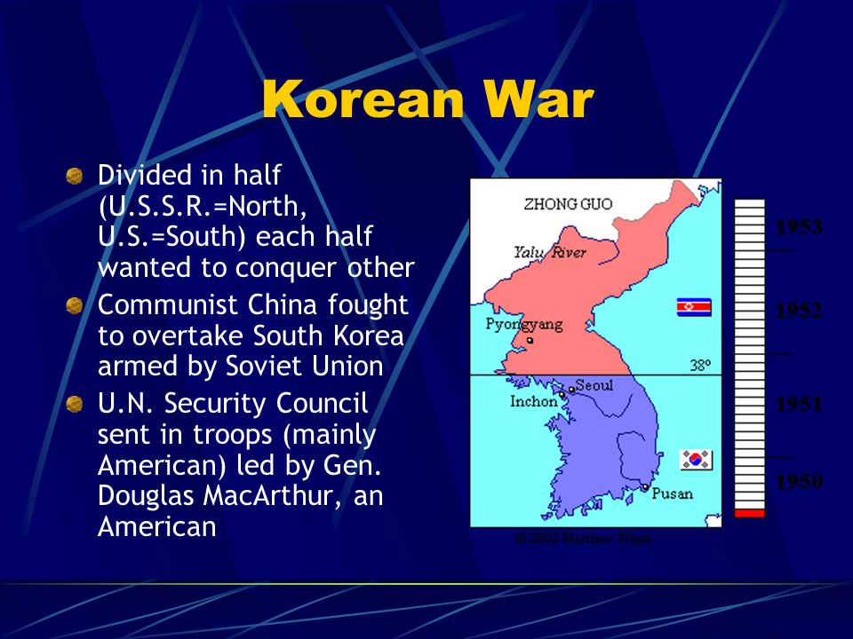 Korean War Divided in half (U.S.S.R.=North, U.S.=South) each half wanted to conquer other Communist China fought to overtake South Korea armed by Sovi
