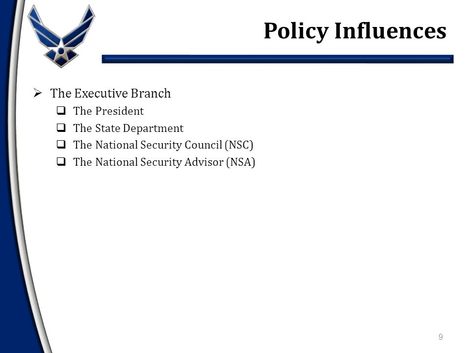  The Executive Branch  The Legislative Branch  The American People Policy Influences 8