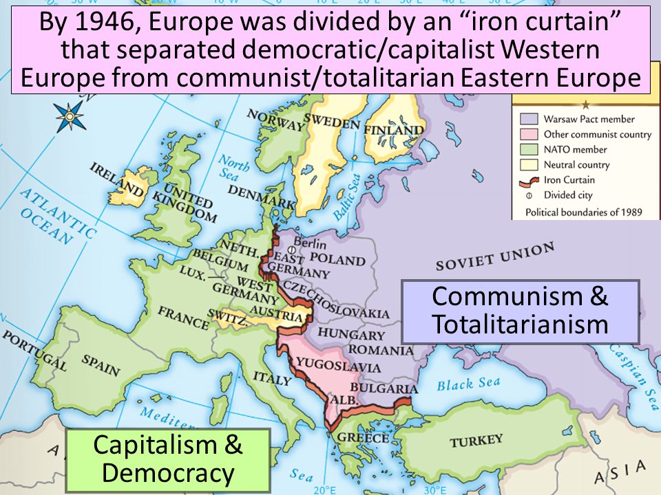 """Capitalism & Democracy Communism & Totalitarianism By 1946, Europe was divided by an """"iron curtain"""" that separated democratic/capitalist Western Europ"""