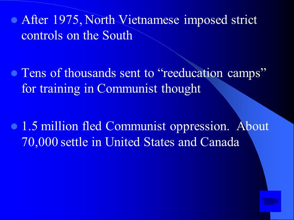 After 1975, North Vietnamese imposed strict controls on the South Tens of thousands sent to reeducation camps for training in Communist thought 1.5 million fled Communist oppression.