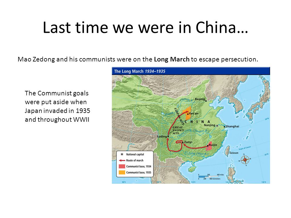Last time we were in China… Mao Zedong and his communists were on the Long March to escape persecution.
