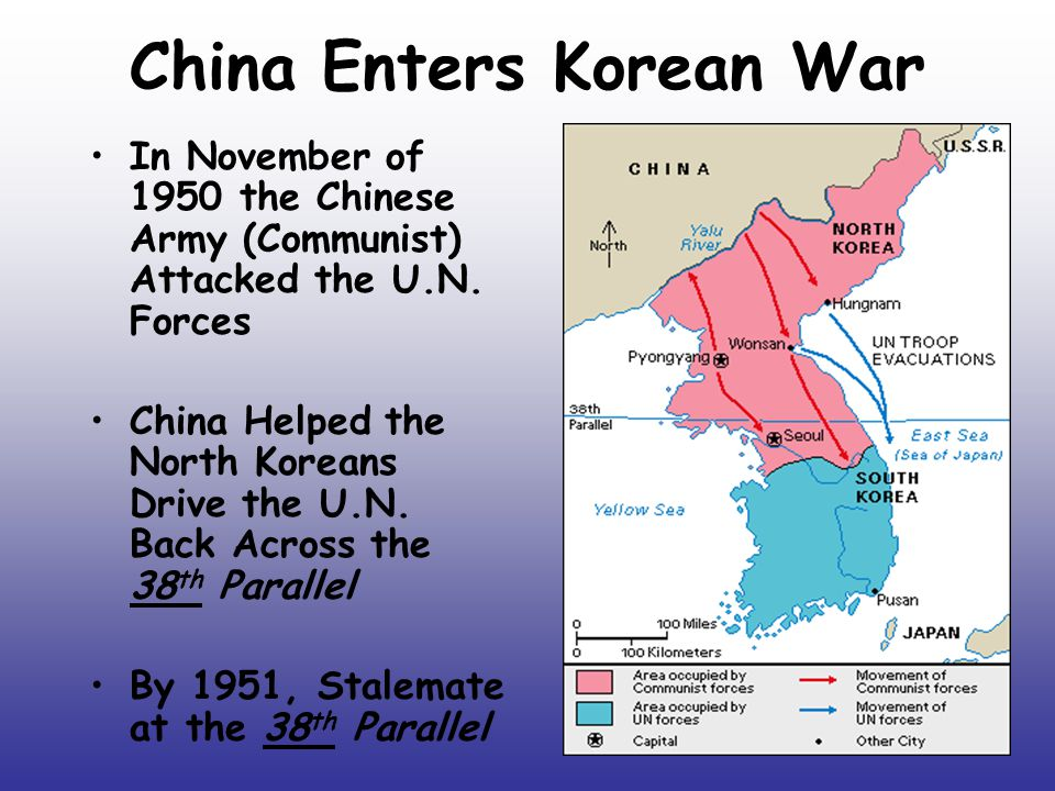 China Enters Korean War In November of 1950 the Chinese Army (Communist) Attacked the U.N.