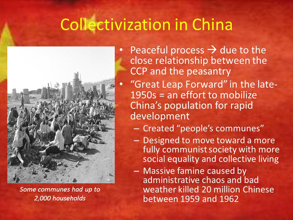 """Collectivization in China Peaceful process  due to the close relationship between the CCP and the peasantry """"Great Leap Forward"""" in the late- 1950s ="""