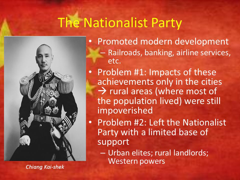 The Nationalist Party Constantly faced opposition from the newly developed Chinese Communist Party (CCP) – Founded in 1921 – Grew enormously over the next 28 years – Found a charismatic leader in Mao Zedong Mao Zedong as a young revolutionary