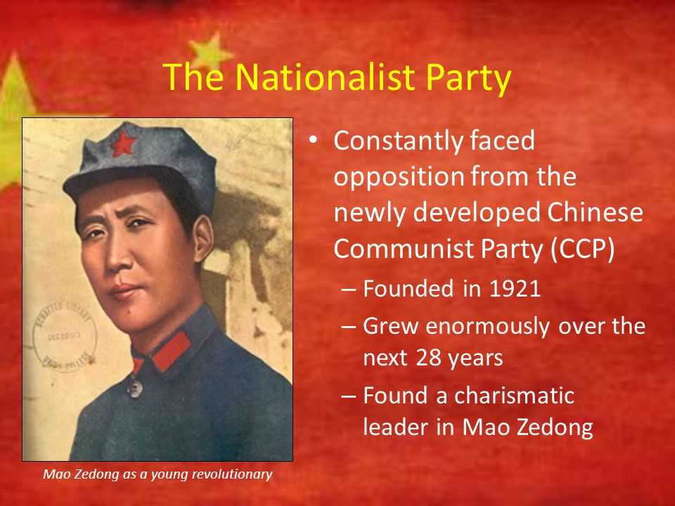 The Nationalist Party 1927 = Nationalist Party chased the CCP out of China's cities – CCP developed a new strategy = appeal to China's peasants for support