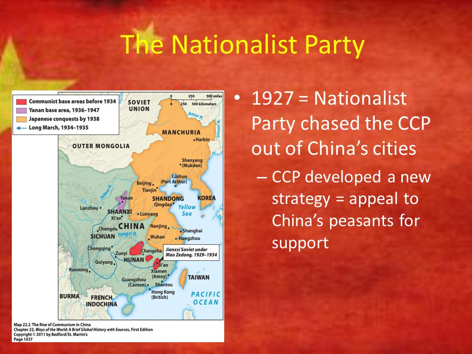 Chinese Communist Party Slowly gained the respect and support of the peasants by: – Using guerrilla warfare tactics against the Nationalist Party – Experimenting with land reform in areas under communist control – Efforts to empower women – Creation of a communist military force to protect against Nationalist Party attacks Chinese Communist Guerrillas