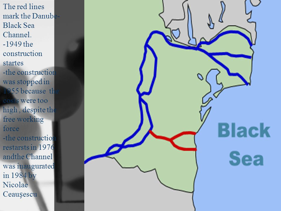 The red lines mark the Danube- Black Sea Channel.