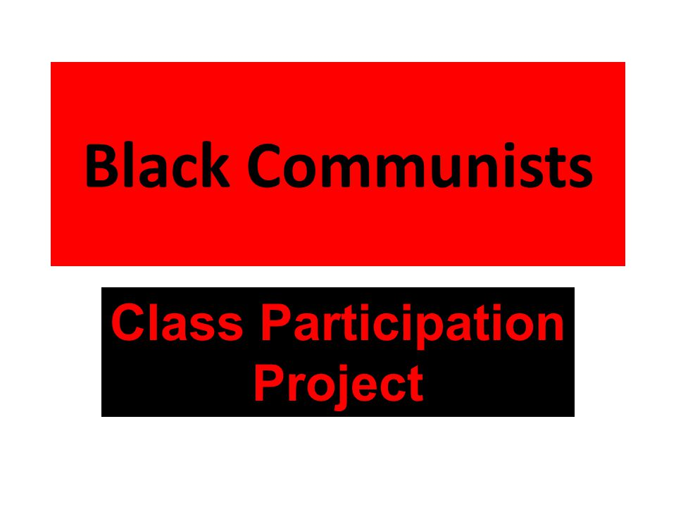 Black Communists Class Participation Project