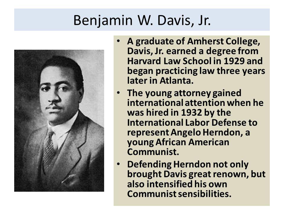 Benjamin W. Davis, Jr. A graduate of Amherst College, Davis, Jr.