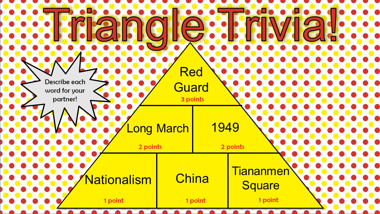 Red Guard Long March 1949 Nationalism China Tiananmen Square 3 points 2 points 1 point Describe each word for your partner!