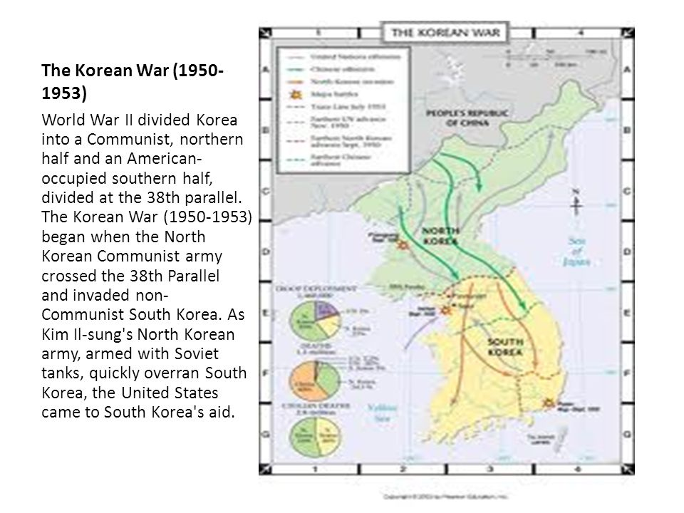 The Korean War (1950- 1953) World War II divided Korea into a Communist, northern half and an American- occupied southern half, divided at the 38th parallel.