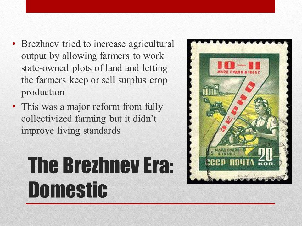 The Brezhnev Era: Domestic 1975 yielded another poor harvest and Brezhnev actually had to import food to feed Soviet citizens Because Brezhnev and USSR were so focused on food during the 1970's they weren't able to increase petroleum production for sale – this could have greatly benefitted the nation This led to public criticism of Brezhnev and Soviet government