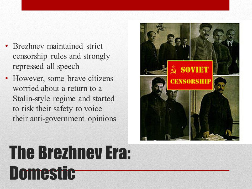 The Brezhnev Era: Domestic Alexander Solzhenitsyn published The Gulag Archipelago which was an autobiographical account of his time in a forced labor camp He was exiled in 1974