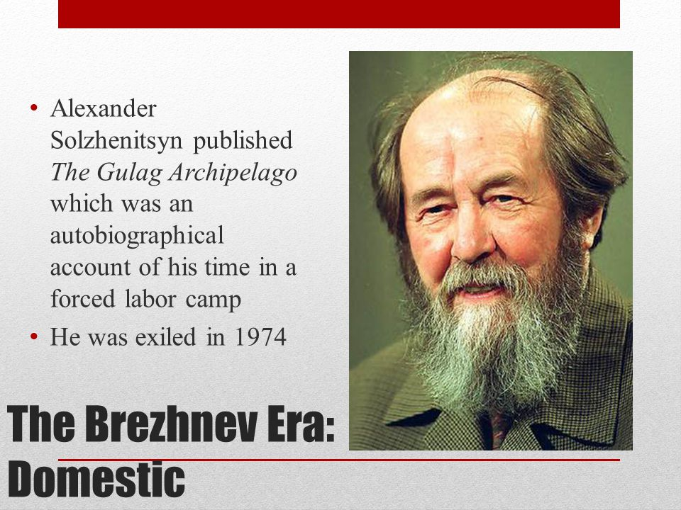 The Brezhnev Era: Domestic Samizdat: self- published pamphlets that were illegally copied and distributed – these criticized the government Tamizdat: pamphlets published abroad and smuggled into the Soviet Union