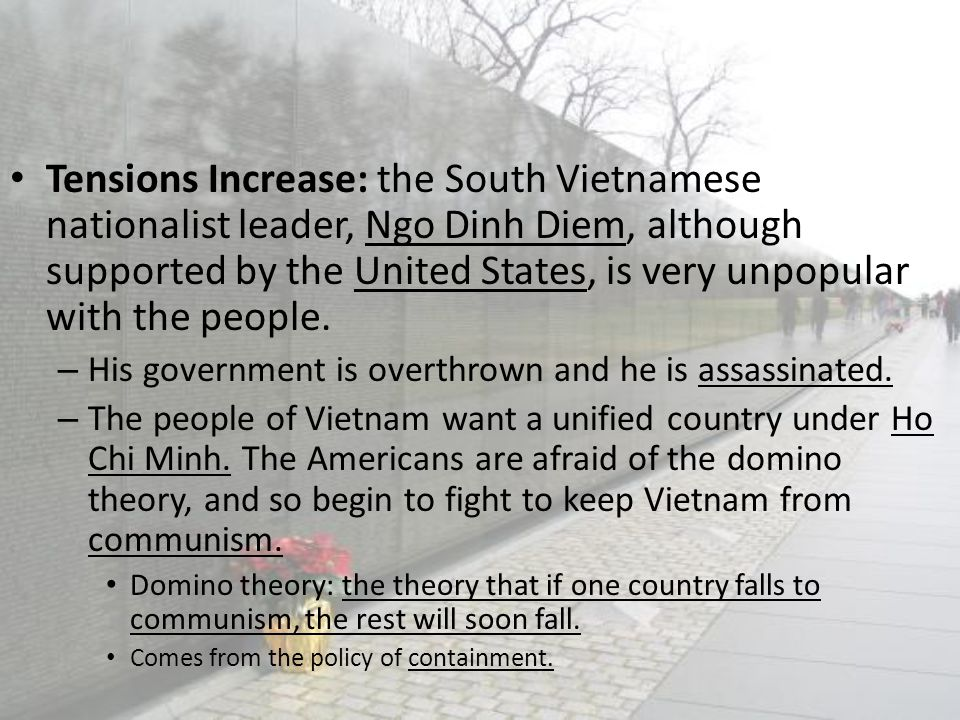 Tensions Increase: the South Vietnamese nationalist leader, Ngo Dinh Diem, although supported by the United States, is very unpopular with the people.