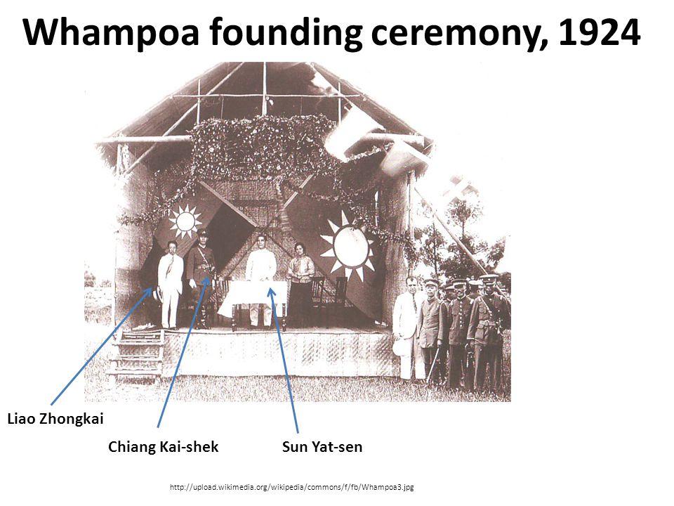 Whampoa founding ceremony, 1924 http://upload.wikimedia.org/wikipedia/commons/f/fb/Whampoa3.jpg Sun Yat-senChiang Kai-shek Liao Zhongkai