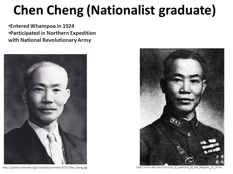 Chen Cheng (Nationalist graduate) http://upload.wikimedia.org/wikipedia/commons/f/fc/Chen_cheng.jpg http://www.ask.com/wiki/List_of_premiers_of_the_Republic_of_China Entered Whampoa in 1924 Participated in Northern Expedition with National Revolutionary Army