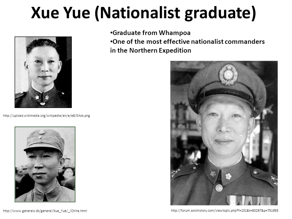 Xue Yue (Nationalist graduate) http://upload.wikimedia.org/wikipedia/en/e/e8/Sitok.png http://www.generals.dk/general/Xue_Yue/_/China.html http://forum.axishistory.com/viewtopic.php f=101&t=83297&p=751955 Graduate from Whampoa One of the most effective nationalist commanders in the Northern Expedition
