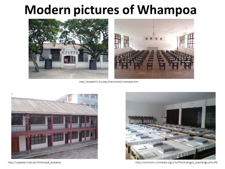 Modern pictures of Whampoa http://academic.mu.edu/meissnerd/whampoa.htm http://wapedia.mobi/en/Whampoa_Academyhttp://commons.wikimedia.org/wiki/File:Huangpu_Xueshengsushe.JPG