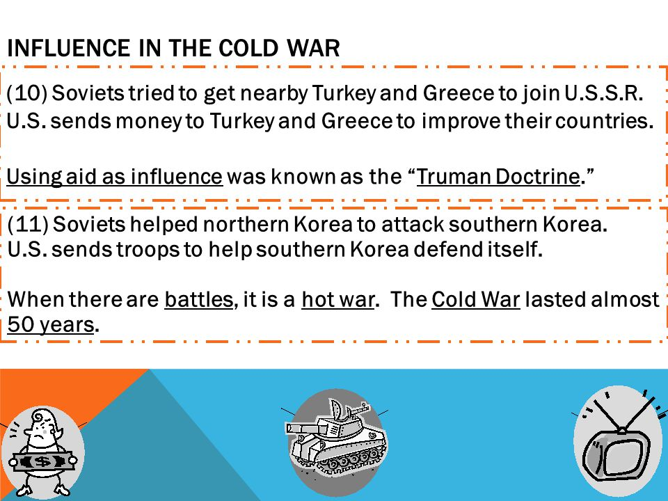 INFLUENCE IN THE COLD WAR (10) Soviets tried to get nearby Turkey and Greece to join U.S.S.R.
