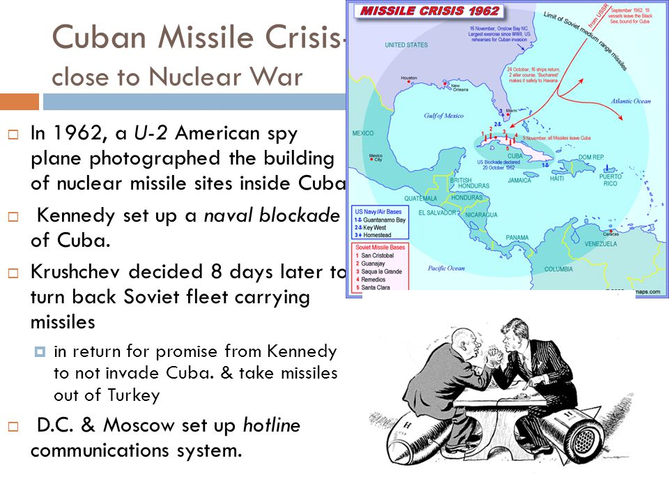 Cuban Missile Crisis- close to Nuclear War  In 1962, a U-2 American spy plane photographed the building of nuclear missile sites inside Cuba,  Kenne