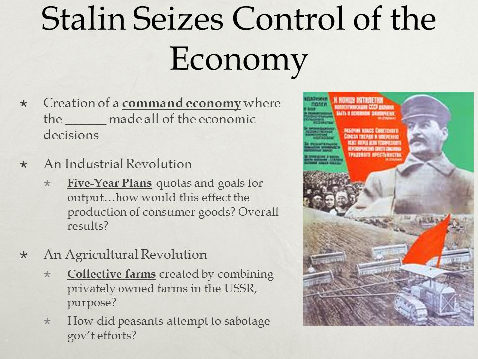 Stalin Seizes Control of the Economy  Creation of a command economy where the ______ made all of the economic decisions  An Industrial Revolution 